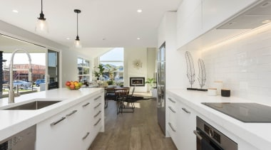 Open plan kitchen and living areas - Open countertop, home, interior design, kitchen, property, real estate, white