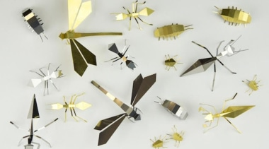 Poligon is a collection of foldable metallic sculptures insect, invertebrate, moths and butterflies, pollinator, product design, white
