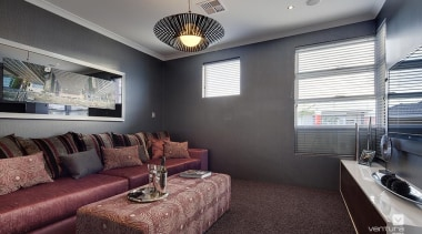 Home theatre design. - The Spectrum Display Home ceiling, home, interior design, living room, property, real estate, room, gray, black
