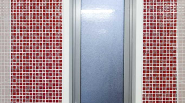 Bathroom with red mosaic tiled wall - Bathroom bathroom, interior design, wall, window, gray, red