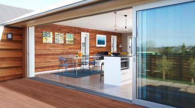 The reclaimed timber framing used as internal wall deck, door, facade, floor, hardwood, house, interior design, real estate, siding, window, wood, wood flooring, brown, white