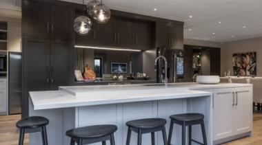 New Albany Show Home - New Albany Show countertop, cuisine classique, interior design, kitchen, gray, black