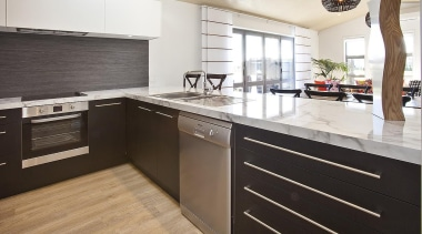 For more information, please visit www.gjgardner.co.nz cabinetry, countertop, cuisine classique, floor, interior design, kitchen, real estate, white, black