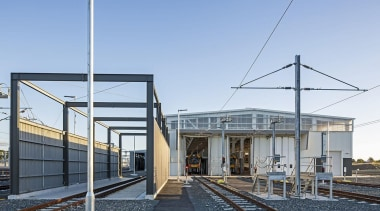 EXCELLENCE AWARDWiri Electric Train Maintenance and Stabling Facility architecture, building, house, real estate, sky, train station, transport, teal