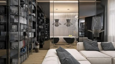 soft cream sofas - Masculine Apartments - furniture furniture, interior design, living room, room, wall, gray, black