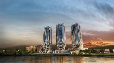 'Grace on Coronation' is a design by British-Iraqi building, city, cityscape, condominium, daytime, landmark, metropolis, metropolitan area, mixed use, reflection, sky, skyline, skyscraper, tower, tower block, gray