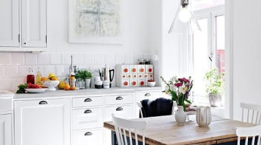 All White Kitchen Design - Industrial meets country cuisine classique, dining room, floor, furniture, home, interior design, kitchen, living room, room, table, window, white