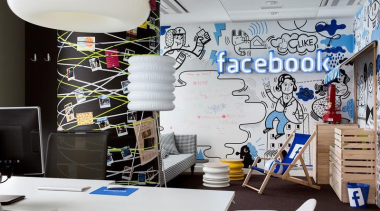 Who better than Facebook to redefine what a design, interior design, wall, white, gray, black