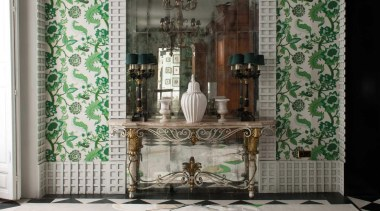 The Magnolia motif first appeared in Westwood's Autumn architecture, ceiling, floor, flooring, home, interior design, room, wall, window, gray