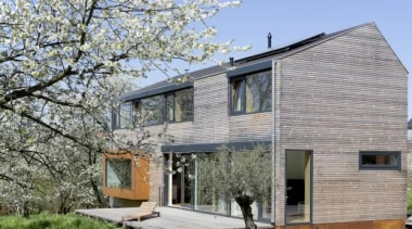 Cherry Blossom House (Passivhaus) - ÜberRaum Architects, Achern, architecture, building, cottage, facade, farmhouse, home, house, property, real estate, residential area, siding, window, gray