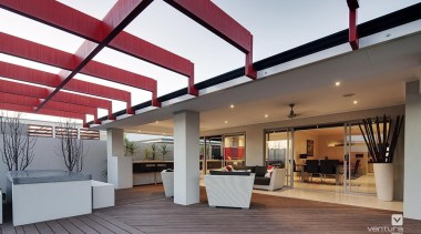Alfresco entertaining. - The Essence Display Home - ceiling, daylighting, interior design, lobby, real estate, roof, gray