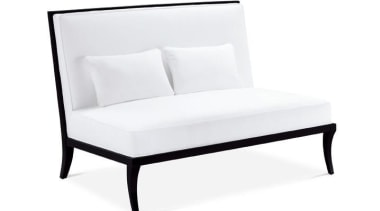 """""""My natural inclination for grandeur prompts me to chair, couch, furniture, loveseat, outdoor furniture, product design, studio couch, table, white"""
