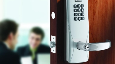 Schlage CO100 Series Electronic Access Control. For Commercial lock, product design, red, white