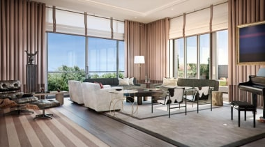 This new development The Chilterns is situated in floor, interior design, living room, lobby, property, real estate, window, window covering, window treatment, gray