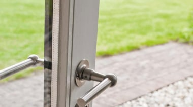 FVL85/40 - Solid Unsprung Lever Handle Attached to metal, window, white, yellow