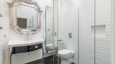 Emma Morris of Eterno Design bathroom, bathroom accessory, floor, home, interior design, room, tile, white, gray