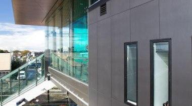 Exterior cladding featuring Laminam Filo Pece - Laminam architecture, building, daylighting, glass, metropolitan area, public transport, rapid transit, train station, transport, gray, black