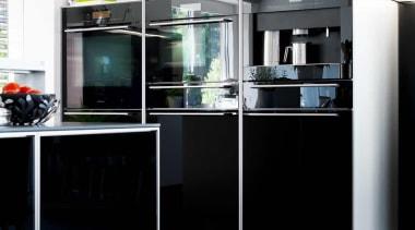Modern Black and White KitchenFor more information, please display case, furniture, kitchen, shelf, shelving, sideboard, black, white