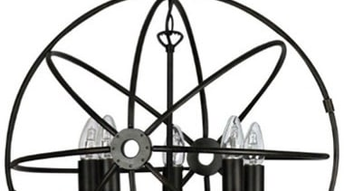 FeaturesThe Columbus is a unique creative piece which black and white, ceiling fixture, chandelier, light fixture, lighting, line, white