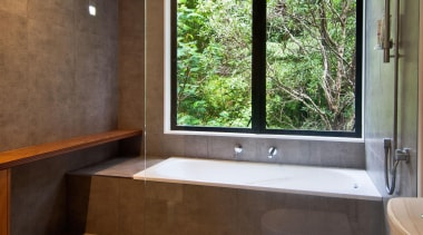 Main bathroom - Main bathroom - architecture | architecture, bathroom, estate, home, house, interior design, property, real estate, room, window, brown, gray