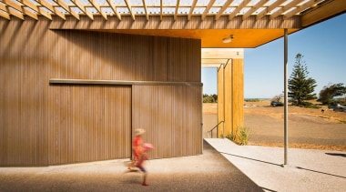 MERIT WINNERMuriwai Surf Lifesaving Club (1 of 4) architecture, facade, home, house, property, real estate, wall, wood, orange, brown