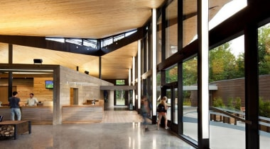 The Mont-Tremblant national park discovery centre in Québec architecture, house, interior design, lobby