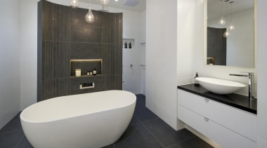 Bubbles Bathrooms architecture, bathroom, bathroom accessory, floor, interior design, product design, property, real estate, room, tile, gray, black