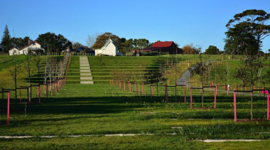 LANDSCAPE AWARD  Pops of pink surprise and estate, farm, fence, field, grass, grassland, house, land lot, landscape, lawn, meadow, outdoor structure, pasture, rural area, sky, tree, brown, teal