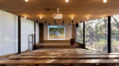 The Mont-Tremblant national park discovery centre in Québec architecture, ceiling, floor, flooring, home, house, interior design, real estate, wood, wood flooring, brown, gray
