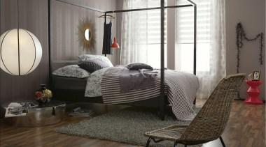 Schoner Wohnen - Modern Style Range - bed bed, bed frame, floor, flooring, furniture, home, interior design, living room, room, window, gray, black