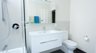 Showing the room room from shower/bath to vanity bathroom, bathroom accessory, bathroom cabinet, plumbing fixture, property, room, sink, white