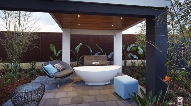 Backyard features outdoor bathtub. - The Meridian Two architecture, backyard, home, house, outdoor structure, patio, property, real estate, black, gray