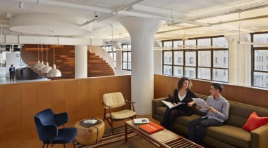 The design for renowned advertising agency Wieden+Kennedy moves furniture, interior design, gray, brown