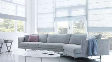luxaflex roman shades - luxaflex roman shades - angle, chaise longue, coffee table, couch, floor, furniture, interior design, living room, loveseat, product design, sofa bed, table, window, window covering, window treatment, white