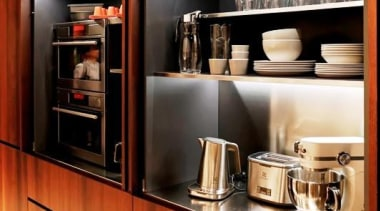 Purist uncluttered kitchen design - Purist uncluttered kitchen cabinetry, countertop, furniture, interior design, kitchen, red, black