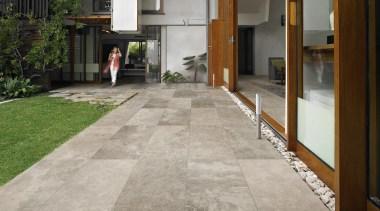 exterior tiles velvet platinum 60x60 - Velvet Range architecture, courtyard, floor, flooring, house, real estate, road surface, tile, walkway, gray