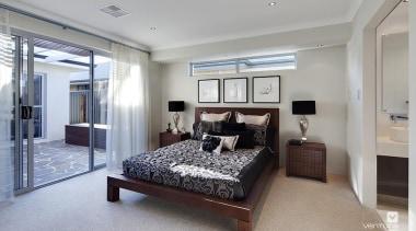 Master ensuite design. - The Nirvana Display Home bed frame, bedroom, ceiling, home, interior design, property, real estate, room, gray