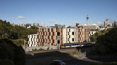 Carlaw Park Student Village in Auckland accommodates students apartment, architecture, building, city, estate, neighbourhood, property, real estate, residential area, sky, suburb, town, tree, urban area, black, teal