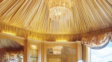 Wow, what an incredible chandelier over the tub! ceiling, estate, interior design, orange