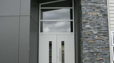 Hardies panel ,stone and Linea weatherboard on this architecture, building, door, facade, home, house, property, real estate, siding, window, gray