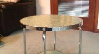 Mint green Formica and chrome - Just love chair, coffee table, end table, furniture, glass, product, table, gray, orange