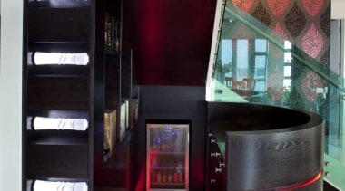 Foyer with red lights on the ground - furniture, interior design, product design, black