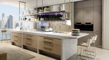 Lignum Kitchen designed by Antonio Citterio for Arclinea cabinetry, countertop, cuisine classique, furniture, interior design, kitchen, gray