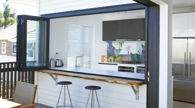 Create a seamless entertainers space by having bifold daylighting, house, interior design, real estate, window, white, gray