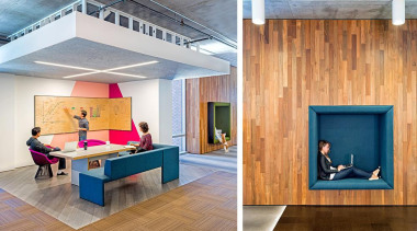 From almost any angle, the visual impact of architecture, floor, flooring, furniture, interior design, table, wood, orange