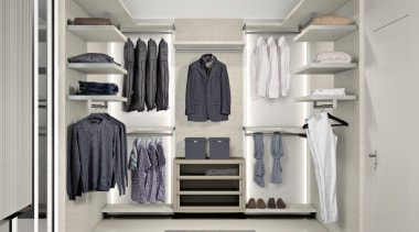 For more information, please visit www.archinteriors.co.nz closet, clothes hanger, furniture, product, room, wardrobe, gray