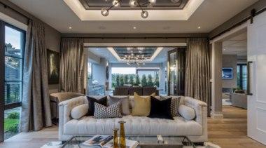 New Albany Show Home - New Albany Show ceiling, estate, home, interior design, living room, room, gray