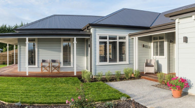 Classic style weatherboard home with modern styling backyard, cottage, estate, facade, home, house, porch, property, real estate, residential area, siding, window, yard, white