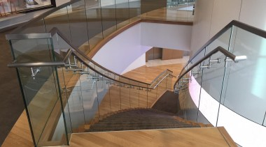 Glasshape - architecture | daylighting | floor | architecture, daylighting, floor, flooring, glass, handrail, stairs, gray, brown