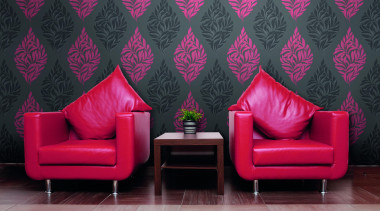 Modern Style Range - chair | couch | chair, couch, interior design, living room, magenta, pink, purple, wall, wallpaper, black, red
